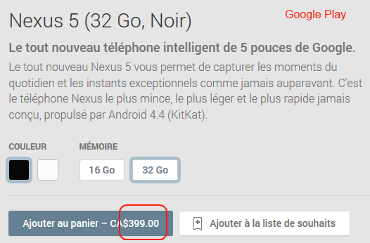 Nexus 5 - Google Play
